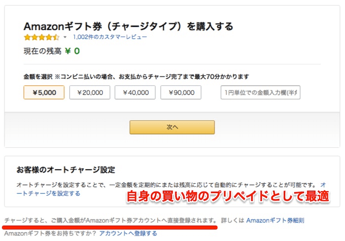 Amazonギフト券チャージタイプの注文画面